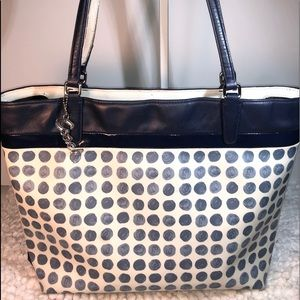 Coach Navy Polka Dot Coated Canvas ~ Leather Tote